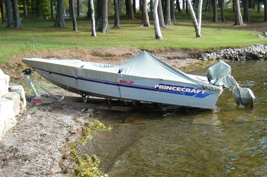 R&J Machine Aluminum Roller Ramp System with Princecraft boat