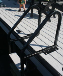 Aluminum Flip up Ladder with Pvc treads anodized black
