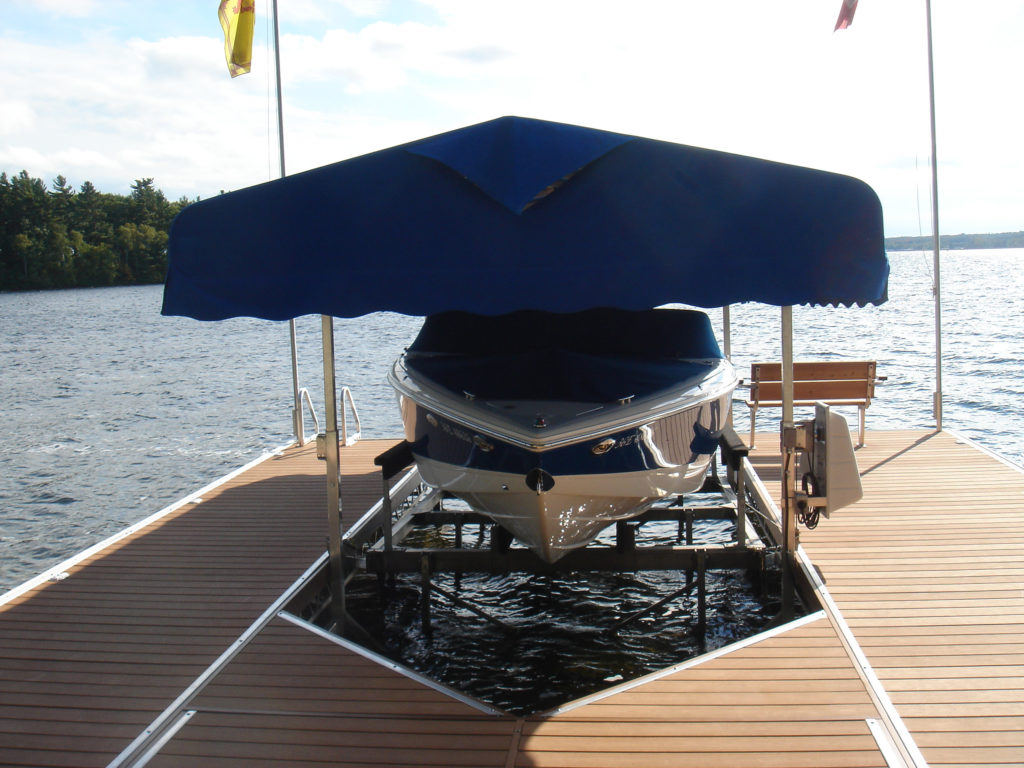 If your shoreline has shallow water and very uneven ground, a Cantilever Boat Lift would be a good fit.